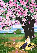 붓터치, 유화 (회화기법), 풍경 (컨셉), 계절, 꽃, 식물, 나무, 소풍 (아웃도어), 한명 (사람의수)