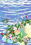 붓터치, 유화 (회화기법), 풍경 (컨셉), 계절, 꽃, 식물, 한명 (사람의수)