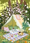 붓터치, 유화 (회화기법), 풍경 (컨셉), 계절, 꽃, 식물, 한명 (사람의수), 소풍 (아웃도어)