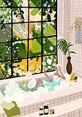 붓터치, 유화 (회화기법), 풍경 (컨셉), 계절, 꽃, 식물, 한명 (사람의수), 욕조, 거품목욕