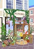 붓터치, 유화 (회화기법), 풍경 (컨셉), 계절, 꽃, 식물, 한명 (사람의수), 꽃가게 (가게), 꽃다발