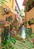 붓터치, 유화 (회화기법), 풍경 (컨셉), 계절, 꽃, 식물, 한명 (사람의수), 골목길 (도시도로), 골목길