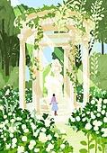 붓터치, 유화 (회화기법), 풍경 (컨셉), 계절, 꽃, 식물, 한명 (사람의수), 공원, 조각상, 꽃밭