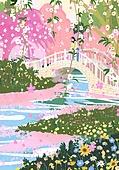 붓터치, 유화 (회화기법), 풍경 (컨셉), 계절, 꽃, 식물, 한명 (사람의수), 다리 (인공구조물), 시냇물, 꽃밭