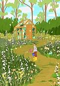 붓터치, 유화 (회화기법), 풍경 (컨셉), 계절, 꽃, 식물, 한명 (사람의수), 공원, 온실, 꽃밭