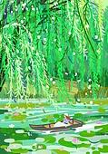 붓터치, 유화 (회화기법), 풍경 (컨셉), 계절, 꽃, 식물, 한명 (사람의수), 배 (교통량), 연못 (고인물), 연잎, 버드나무