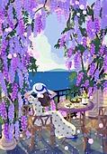 붓터치, 유화 (회화기법), 풍경 (컨셉), 계절, 꽃, 식물, 한명 (사람의수), 바다, 발코니