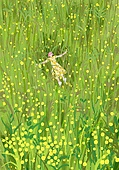 붓터치, 유화 (회화기법), 풍경 (컨셉), 계절, 꽃, 식물, 한명 (사람의수), 풀 (식물), 초원 (자연의토지상태), 탑앵글 (카메라앵글), 눕기 (몸의 자세), 꽃밭