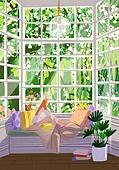 붓터치, 유화 (회화기법), 풍경 (컨셉), 계절, 꽃, 식물, 한명 (사람의수), 소파, 거실, 창문
