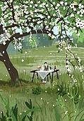 붓터치, 유화 (회화기법), 풍경 (컨셉), 계절, 꽃, 식물, 한명 (사람의수), 소풍 (아웃도어), 식탁, 나무