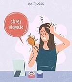 사람, 탈모, 탈모 (질병), 여성 (성별), 스트레스