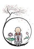 불교, 부처님오신날, 부처님오신날 (홀리데이), 종교, 연꽃, 연등, 기도 (커뮤니케이션컨셉), 붓터치, 동자승 (승려)