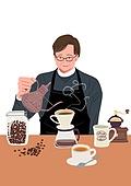 장년 (성인), 일 (물리적활동), 직업, 채용 (고용문제), 중년 (성인), 바리스타, 커피 (뜨거운음료)