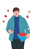 장년 (성인), 일 (물리적활동), 직업, 채용 (고용문제), 중년 (성인), 농업 (주제), 딸기