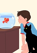 고양이 (고양잇과), 반려동물, 애정표현 (밝은표정), 어항, 어린이 (나이)