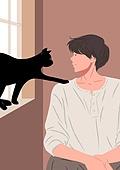 고양이 (고양잇과), 반려동물, 애정표현 (밝은표정), 남성 (성별)
