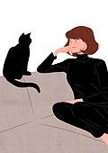 고양이 (고양잇과), 반려동물, 애정표현 (밝은표정), 여성 (성별)