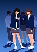 사람, 폭력, 학교폭력, 학생, 교복, 왕따 (괴롭힘), 스트레스 (컨셉)