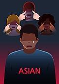 사람, 동양인 (인종), 싫어함 (컨셉), 증오범죄 (범죄), 편견 (사회이슈), 범죄, 우울, 스트레스