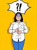 다이어트, 비만 (건장한체격), 청년 (성인), 여성 (성별), 황당 (컨셉), 스트레스, 말풍선, 셔츠 (상의), 쇼크 (컨셉), 비만