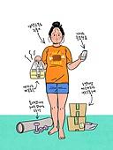 다이어트, 비만 (건장한체격), 청년 (성인), 여성 (성별), 비만, 집, 집콕 (컨셉), 배달음식, 재택근무 (원격근무)