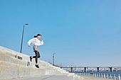 건강관리 (주제), 워밍업, 체력, 여성, 계단, 달리기 (물리적활동), 점프