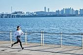 건강관리 (주제), 워밍업, 체력, 여성, 강변 (지세), 조깅 (운동), 달리기 (물리적활동)