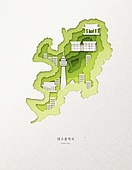 종이 (재료), 페이퍼아트, 지도, 한국지도 (지도), 대구 (대한민국), 고층빌딩 (회사건물)