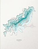 종이 (재료), 페이퍼아트, 지도, 한국지도 (지도), 부산 (대한민국), 다리 (인공구조물)