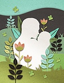 종이 (재료), 페이퍼아트, 엄마, 아기 (나이), 모성애 (감정), 육아, 애정표현 (밝은표정), 꽃, 잎