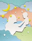 종이 (재료), 페이퍼아트, 엄마, 아기 (나이), 모성애 (감정), 육아, 애정표현 (밝은표정), 달 (하늘), 초승달, 별모양 (도형)