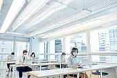 한국인, 비즈니스 (주제), 사무실, 코로나바이러스, 코로나19 (코로나바이러스), 사회적거리두기 (사회이슈), 팬데믹 (질병), 코로나바이러스 (바이러스), 팬데믹, 마스크 (방호용품)