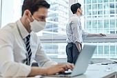 한국인, 비즈니스, 사무실, 코로나바이러스, 사회적거리두기 (사회이슈), 피로 (물체묘사), 고역 (컨셉), 스트레스 (컨셉), 일 (물리적활동)