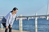한국인, 건강관리 (주제), 달리기 (물리적활동), 조깅 (운동), 유산소운동 (운동), 강변, 여성, 호흡