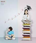 그래픽이미지, 어린이 (나이), 교육 (주제), 공부 (움직이는활동), 화살표, 그래프, 사회양극화 (사회이슈), 학습격차, 개인레슨 (가르침)