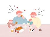 라이프스타일, 음식, 배달음식, 가족, 후라이드치킨 (닭고기)