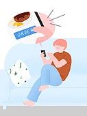 라이프스타일, 음식, 배달음식, 스마트폰, 주문 (상업활동), 소파, 말풍선