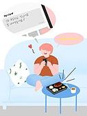 라이프스타일, 음식, 배달음식, 스마트폰, 주문 (상업활동), 소파, 말풍선, 리뷰 (컨셉)