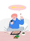 라이프스타일, 음식, 배달음식, 스마트폰, 주문 (상업활동), 말풍선, 리뷰 (컨셉)