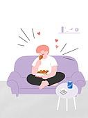 라이프스타일, 음식, 배달음식, 소파, 후라이드치킨 (닭고기)