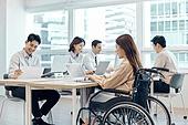장애인 (장애), 휠체어, 장애, 사회복지, 신체장애, 소외계층, 한국인, 비즈니스, 노동자 (직업), 집중
