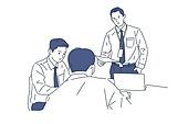 일러스트, 비즈니스, 사업관계 (비즈니스), 비즈니스금융과산업, 비즈니스캐쥬얼 (비즈니스웨어), 캐릭터 (컨셉), 팀워크 (협력), 노동자 (직업), 글로벌금융 (금융), 비즈니스미팅 (미팅)