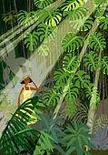 풍경 (컨셉), 여름, 계절, 자연풍경, 유화 (회화기법), 숲, 나무, 치즈나무 (열대관목), 빛 (자연현상)
