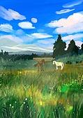 풍경 (컨셉), 여름, 계절, 자연풍경, 유화 (회화기법), 숲, 나무, 구름, 말 (발굽포유류), 초원 (자연의토지상태)