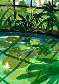 풍경 (컨셉), 여름, 계절, 자연풍경, 유화 (회화기법), 숲, 나무, 연못 (고인물)