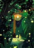 풍경 (컨셉), 여름, 계절, 자연풍경, 유화 (회화기법), 숲, 나무, 반딧불이 (딱정벌레)