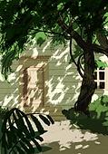 풍경 (컨셉), 여름, 계절, 자연풍경, 유화 (회화기법), 숲, 나무, 그늘 (빛효과), 집
