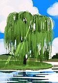 풍경 (컨셉), 여름, 계절, 자연풍경, 유화 (회화기법), 나무