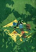 풍경 (컨셉), 여름, 계절, 자연풍경, 유화 (회화기법), 숲, 나무, 초원 (자연의토지상태), 풀 (식물), 소풍 (아웃도어), 그늘 (빛효과)