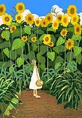 풍경 (컨셉), 여름, 계절, 자연풍경, 유화 (회화기법), 해바라기, 꽃밭